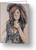Blues Pastels Greeting Cards - Janis Joplin Greeting Card by Melanie D