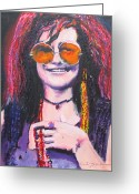 Joplin Greeting Cards - Janis Joplin Pink Greeting Card by Eric Dee