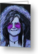 Joplin Greeting Cards - Janis Joplin Greeting Card by Shirl Theis