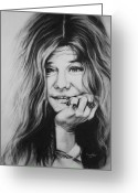 Charcoal Greeting Cards - Janis Joplin Greeting Card by Steve Hunter