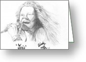 San Francisco Drawings Greeting Cards - Janis Greeting Card by Windy Mountain