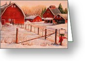 Red Barns Greeting Cards - January Thaw Greeting Card by Toni Grote