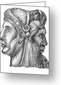 Two-faced Greeting Cards - Janus, Roman God Greeting Card by Photo Researchers