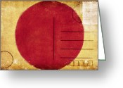 Backside Greeting Cards - Japan Flag Postcard Greeting Card by Setsiri Silapasuwanchai