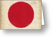 Asia Photo Greeting Cards - Japan flag Greeting Card by Setsiri Silapasuwanchai