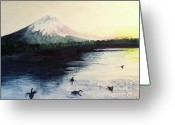 Goose Drawings Greeting Cards - Japan -Mt. Fuji   Greeting Card by Yoshiko Mishina