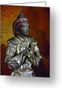 Lacquer Greeting Cards - Japan: Sakara Statue Greeting Card by Granger