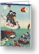 12th Century Greeting Cards - Japan: Tale Of Genji Greeting Card by Granger