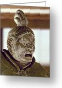 Lacquer Greeting Cards - Japan: Warrior Statue Greeting Card by Granger