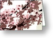 Pink Flower Branch Painting Greeting Cards - Japanese Blossom  Greeting Card by Sarah O Toole