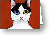 Whiskers Greeting Cards - Japanese Bobtail Greeting Card by Leanne Wilkes