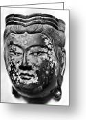 Lacquer Greeting Cards - Japanese Bodhisattva Mask Greeting Card by Granger