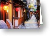 Bamboo Lanterns Greeting Cards - Japanese Businesses on a Pedestrian Street Greeting Card by Jeremy Woodhouse