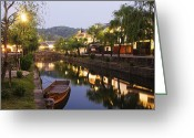 Row Boat Greeting Cards - Japanese Canal Scene at Dusk Greeting Card by Jeremy Woodhouse