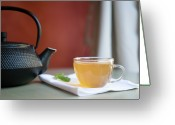 Cup Photo Greeting Cards - Japanese Cast Iron Teapot, Hot Tea And Mint Leaves Greeting Card by Alexandre Fundone