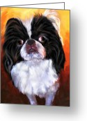 Chin Greeting Cards - Japanese Chin Portrait Greeting Card by Jai Johnson