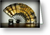Wheel Thrown Greeting Cards - Japanese Fan and Pot Greeting Card by Renee Trenholm