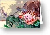 Franklin Park Conservatory Digital Art Greeting Cards - Japanese Flower Arrangement Greeting Card by Mindy Newman