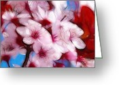 Oil Pastel Greeting Cards - Japanese Flower Greeting Card by Stefan Kuhn