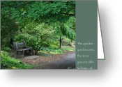 Zen Quotes Greeting Cards - Japanese Garden Bench  Greeting Card by Heidi Hermes