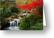 Fall Scene Greeting Cards - Japanese Garden Brook Greeting Card by Jon Holiday
