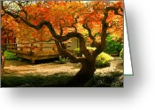 Veranda Greeting Cards - Japanese Garden Greeting Card by Marius Sipa