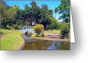 Hawaiian Pond Greeting Cards - Japanese Gardens Greeting Card by Lori Seaman