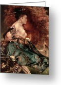Japan Painting Greeting Cards - Japanese girl Greeting Card by Hans Makart