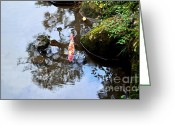 Reflected Tree Greeting Cards - Japanese Koi Pond Greeting Card by Dean Harte