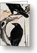 Artcom Greeting Cards - Japanese Print: Crow Greeting Card by Granger