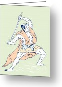 Fighting Greeting Cards - Japanese Samurai Greeting Card by Aloysius Patrimonio