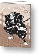 Illustration Greeting Cards - Japanese Samurai warrior sword on bridge Greeting Card by Aloysius Patrimonio