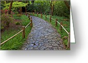 Garden Pathway Greeting Cards - Japanese tea garden path Greeting Card by Garry Gay