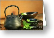 Asia Greeting Cards - Japanese teapot and cup  Greeting Card by Sandra Cunningham