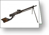 Gun Butt Greeting Cards - Japanese Type 11 Light Machine Gun Greeting Card by Andrew Chittock