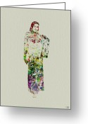 Geisha Greeting Cards - Japanese Woman dancing Greeting Card by Irina  March