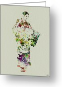 Geisha Greeting Cards - Japanese woman in kimono Greeting Card by Irina  March