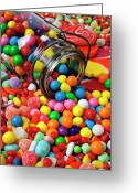 Desserts Greeting Cards - Jar spilling bubblegum with candy Greeting Card by Garry Gay