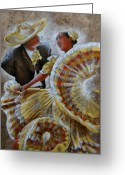 Charro Greeting Cards - Jarabe Tapatio Dance Greeting Card by Juan Jose Espinoza