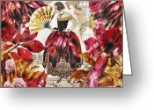 Jardin Greeting Cards - Jardin des Papillons Greeting Card by Mo T
