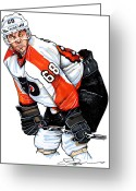 Flyers Drawings Greeting Cards - Jaromir Jagr Greeting Card by Dave Olsen
