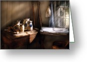 Jars Greeting Cards - Jars - Jars in a fishermans house Greeting Card by Mike Savad