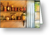 Jars Greeting Cards - Jars - Kitchen Shelves Greeting Card by Mike Savad