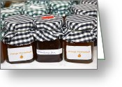 Relief Work Photo Greeting Cards - Jars Of Home Made Strawberry Jam And Marmalade Greeting Card by Joe Fox