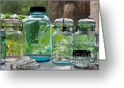Mason Jars Photo Greeting Cards - Jars on a Shelf Greeting Card by Dawna  Moore Photography