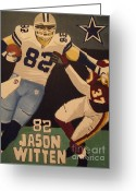 Dallas Cowboys Painting Greeting Cards - Jason Witten STIFFARM Greeting Card by Simon Hardesty