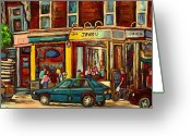 Montreal Citystreets Greeting Cards - Java U Coffee Shop Montreal Painting By Streetscene Specialist Artist Carole Spandau Greeting Card by Carole Spandau