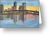Florida Bridge Mixed Media Greeting Cards - Jax Cityscape Greeting Card by JD Moores