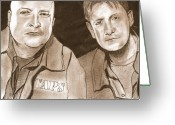 Science Fiction Drawings Greeting Cards - Jay and Grant The Ghost Hunters Greeting Card by Jason Kasper