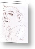 Graphite Greeting Cards - Jay Leno Greeting Card by Jose Valeriano